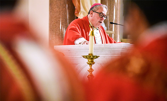 Bishop Michael Olson delivers his homily during 14th Annual Red Mass at the St. Patrick Cathedral Sept. 26. (NTC/Ben Torres)